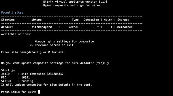 Настройки NGINX в BitrixVM для работы с композитом