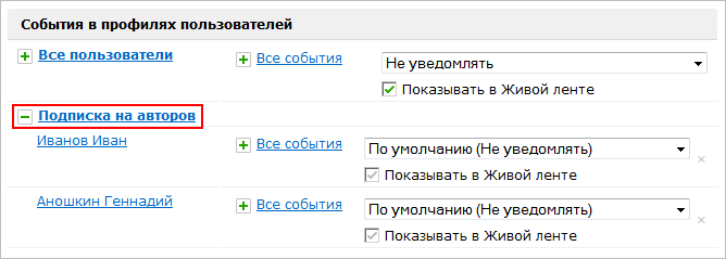 """""""Подписка на авторов"""" - развернуто"""